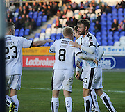Dundee&rsquo;s Dundee&rsquo;s Nicky Low congratulates Rory Loy after his goal - Inverness Caledonian Thistle v Dundee at Caledonian Stadium, Inverness<br /> <br />  - &copy; David Young - www.davidyoungphoto.co.uk - email: davidyoungphoto@gmail.com