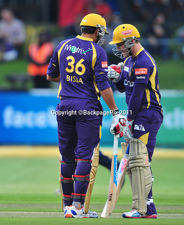 Manvinder Bisla and Brendon McCullum of the Kolkata Knight Riders put on a partnership during the 2012 Champions League Twenty20 cricket match between the Kolkata Knight Riders and the Auckland Aces at Newlands in Cape Town on 15 October 2012 ©Ryan Wilkisky/BackpagePix