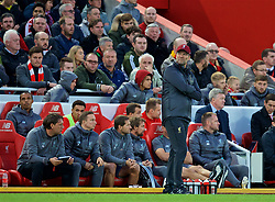 LIVERPOOL, ENGLAND - Sunday, October 7, 2018: Liverpool's manager Jürgen Klopp during the FA Premier League match between Liverpool FC and Manchester City FC at Anfield. (Pic by David Rawcliffe/Propaganda)