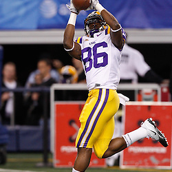Jan 7, 2011; Arlington, TX, USA; LSU Tigers wide receiver Kadron Boone (86) during warm ups prior to kickoff of the 2011 Cotton Bowl against the Texas A&M Aggies at Cowboys Stadium. LSU defeated Texas A&M 41-24.  Mandatory Credit: Derick E. Hingle
