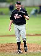 Howick-Pakuranga pitcher Andrew Marck smiles after a pitching a strickout. New Zealand Baseball Nationals Final, Howick-Pakuranga v Westcity-Metro, Crossfields Reserve, Auckland, Sunday 11 March 2012. Photo: Simon Watts/photosport.co.nz