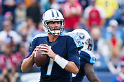 NASHVILLE, TN - OCTOBER 25:  Zach Mettenberger #7 of the Tennessee Titans drops back to pass during a game against the Atlanta Falcons at Nissan Stadium on October 25, 2015 in Nashville, Tennessee.  The Falcons defeated the Titans 10-7.  (Photo by Wesley Hitt/Getty Images) *** Local Caption *** Zach Mettenberger