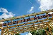 Henley on Thames, England, United Kingdom, 2nd July 2019, Henley Royal Regatta,  Entrance to Little Lion Meadow, Enclosure, on Henley Reach, [© Peter SPURRIER/Intersport Image] 1919 - 2019, Royal Henley Peace Regatta Centenary,