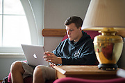 Business major Ryan Panovsky studies in the Undergraduate Student Lounge in Copeland Hall. Photo By Ben Siegel
