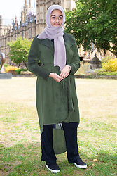 Sixteen year-old Anam Ahmed from King's Heath in Birmingham who wrote an open letter to Boris Johnson following his article where he compared Muslim women in Bukas and Hijabs to 'letterboxes' and 'bank robbers', is pictured outside the Houses of Parliament in Westminster. London, August 10 2018.