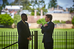 © Licensed to London News Pictures. 19/05/2015. OXFORD, UK. Filming of ITV drama Endeavour, telling the story of the early life of Inspector Morse, taking place in Christ Church Meadow in Oxford. <br /> <br /> In this picture: Shaun Evans (right)(who plays Endeavour Morse) with actor Charles Babalola<br /> <br /> Photo credit : Cliff Hide/LNP