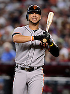 Sep. 15, 2012; Phoenix, AZ, USA; San Francisco Giants outfielder Gregor Blanco (7) reacts during the game against the Arizona Diamondbacks at Chase Field. Mandatory Credit: Jennifer Stewart-US PRESSWIRE