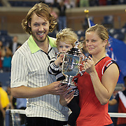 Kim Clijsters, Belgium, with her daughter Jada, and husband Brian Lynch after winning the Women's Singles Final against Caroline Wozniacki, Denmark, at  the US Open Tennis Tournament at Flushing Meadows, New York, USA, on Sunday, September 13, 2009. Photo Tim Clayton.