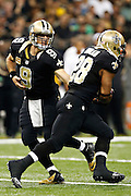NEW ORLEANS, LA - NOVEMBER 11:  Drew Brees #9 makes a hand off  to Mark Ingram #28 of the New Orleans Saints during a game against the Atlanta Falcons at Mercedes-Benz Superdome on November 11, 2012 in New Orleans, Louisiana.  The Saints defeated the Falcons 31-27.  (Photo by Wesley Hitt/Getty Images) *** Local Caption *** Drew Brees; Mark Ingram