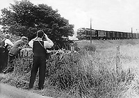 Policeman with binoculars observes the Dundalk to Londonderry goods train which was hijacked at Meigh, Co Armagh, N Ireland by the Provisional IRA on 15th August 1973. The raiders placed two milk churn bombs in the cab of CIE locomotive 201 and made off with mailbags in the leading carriage. The line was eventually cleared on the 17th August 1973 when a British Army marksman triggered the bomb on his ninth shot. 197308160419<br />