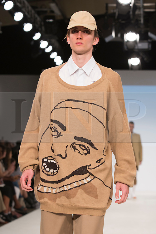© Licensed to London News Pictures. 01/06/2015. London, UK. Collection by Ruth Peterson. Fashion show of Kingston University at Graduate Fashion Week 2015. Graduate Fashion Week takes place from 30 May to 2 June 2015 at the Old Truman Brewery, Brick Lane. Photo credit : Bettina Strenske/LNP