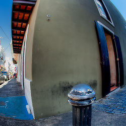 A fisheye lens look at two streets in Old San Juan, Puerto Rico.