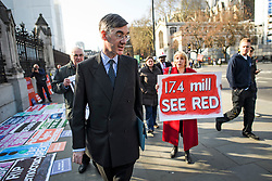 © Licensed to London News Pictures. 29/03/2019. London, UK. Brexiteer JACOB REES-MOGG is seen arriving at parliament in Westminster, London. MPs will later vote on the withdrawal agreement, which sets out the terms of the UK's departure from the EU. Photo credit: Ben Cawthra/LNP