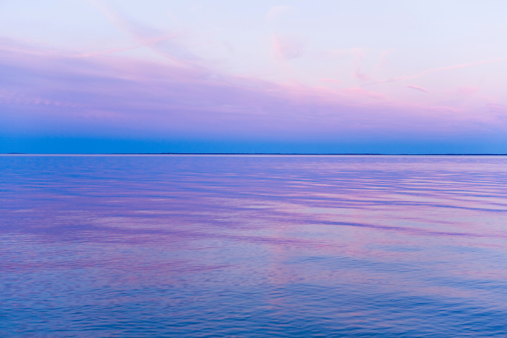 Sunset over calm water on the Chesapeake Bay, Maryland