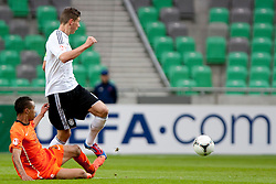Queensy Menig of Netherlands and Leon Goretzka of Germany during the UEFA European Under-17 Championship Final match between Germany and Netherlands on May 16, 2012 in SRC Stozice, Ljubljana, Slovenia. (Photo by Urban Urbanc / Sportida.com)