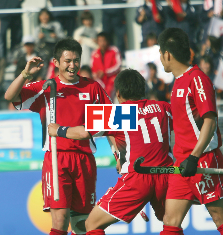Kakamigahara,Gifu-Japan :    (Ext left)Kazuo Yoshida celebrating his goal against Poland in the Olympic Hockey Qualifier at Gifu Perfectural Green Stadium at Kakamigahara on 06 April 2008. Japan beat Poland 6-1.<br /> Photo: GNN/ Vino John