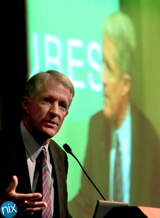 Fred Eshelman, founder and CEO of PPD Inc., speaks at an entrepeneurial conference at the University of North Carolina at Charlotte Thursday afternoon, a day after his company announced it would partner with the North Carolina Research Campus.
