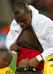 Goalkeeper of Ghana Richard Kingson during the  2010 FIFA World Cup South Africa Quarter Finals football match between Uruguay and Ghana on July 02, 2010 at Soccer City Stadium in Sowetto, suburb of Johannesburg. Uruguay defeated Ghana after penalty shots. (Photo by Vid Ponikvar / Sportida)