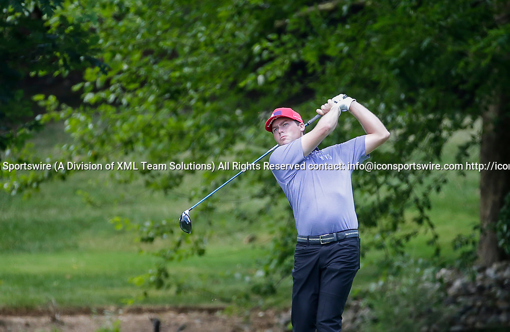 POTOMAC, MD - JULY 01:  Kyle Reifers tees off on the 7th tee box during the third round of the Quicken Loans National at TPC Potomac at Avenel Farm in Potomac, MD.(Photo by Justin Cooper/Icon Sportswire)