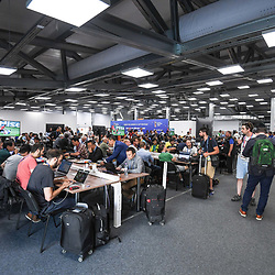 General view of the media center during the FIFA World Cup Group E match between Serbia and Brazil on June 27, 2018 in Moscow, Russia. (Photo by Anthony Dibon/Icon Sport)