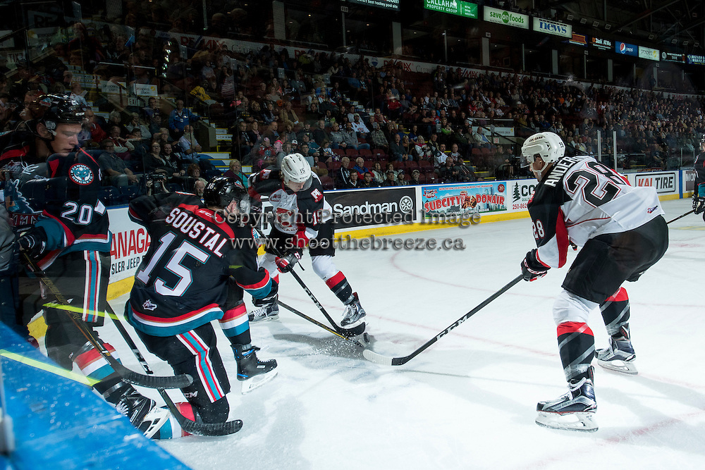 KELOWNA, CANADA - SEPTEMBER 28: Josh Anderson #28 and Brogan O'Brien #15 of Prince George Cougars dig for the puck from Tomas Soustal #15 of Kelowna Rockets on September 28, 2016 at Prospera Place in Kelowna, British Columbia, Canada.  (Photo by Marissa Baecker/Shoot the Breeze)  *** Local Caption *** Tomas Soustal; Brogan O'Brien; Josh Anderson;