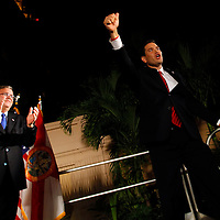 CORAL GABLES, FL -- November 2, 2010 -- Republican Senate candidate Marco Rubio celebrates with former Gov. Jeb Bush after his win was called at The Biltmore Hotel in the Coral Gables area of Miami, Fla., on the Mid-Term Election Day on Tuesday, November 2, 2010.  Rubio won the three-way race for the seat over Independent Gov. Charlie Crist and Democrat Kendrick Meek.