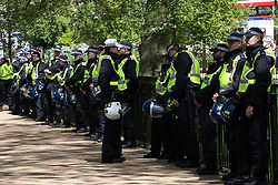 "© Licensed to London News Pictures . 06/05/2018. London, UK. Police at Speakers' Corner as supporters of alt-right and anti-Islam groups, including Generation Identity and the Democratic Football Lads Alliance, gather to march and demonstrate at Whitehall in Westminster. Speakers billed in the ""Day for Freedom"" include former EDL leader Tommy Robinson, Milo Yiannopoulos, youtuber Count Dankula (Markus Meechan), For Britain leader Anne Marie Waters, UKIP leader Gerard Batten, Breitbart's Raheem Kassam and Lauren Southern. The event was originally planned as a march to Twitter's HQ in protest at their banning of Robinson and the Home Office's ban on Martin Sellner and Brittany Pettibone entering the UK, in what protesters describe as limits being imposed on free speech. Photo credit: Joel Goodman/LNP"