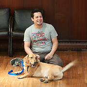 November 11, 2009 - Bronx, NY : Jorge Melara leads a dog obedience course at the Fieldston Ethical Culture Society on Thursday in mid November.  Jorge works with Tully, a basset hound cross.