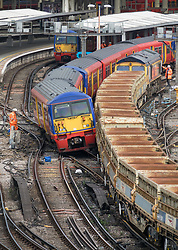 © Licensed to London News Pictures. 15/08/2017. London, UK. The scene where a train has derailed at Waterloo station in London after a low speed collision with a freight train. People have been advised to avoid using Waterloo station, which is undergoing major development works, for the remainder of the day.  Photo credit: Peter Macdiarmid/LNP