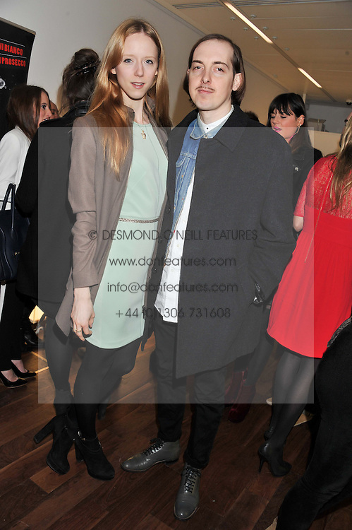 MORWENNA LYTTON COBBOLD and PHILLIP BUSH at a party to celebrate the launch of the Casio Tokyo watch in association with Flashtrash.com held at itsu, 10a Blandford Road, London W1 on 28th January 2013.