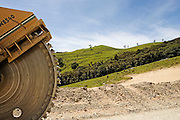 road machinery used in the road construction of the motorway extension of SH1, Rodney District, New Zealand