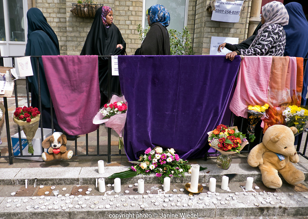 The local church providing help and advise and support as well as compiling lists of those missing in the aftermath of the fire that destroyed the 24-story Grenfell Tower in North Kensington, London on 14th June 2017.  The death toll officially at 75 but will no doubt rise to three figures.