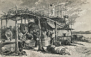Chinese drying fish, Monterey,California, USA. Rngraving 1882.