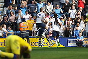 Preston celebrate making it 1-1 during the Sky Bet Championship match between Preston North End and Leeds United at Deepdale, Preston, England on 7 May 2016. Photo by Pete Burns.