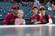 PHOENIX, AZ - APRIL 2:  Arizona Diamondbacks fans smile for a photo as they sit above the dugout prior to the game between the San Francisco Giants and Arizona Diamondbacks at Chase Field on Sunday, April 2, 2017 in Phoenix, Arizona. (Photo by Jennifer Stewart/MLB Photos via Getty Images) ***