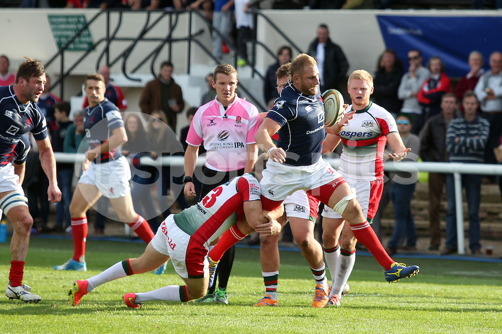Mark Bright in action during the Green King IPA Championship match between London Scottish &amp; Plymouth Albion at Richmond, Greater London on Sunday 5th October 2014<br /> <br /> Photo: Ken Sparks | UK Sports Pics Ltd<br /> London Scottish v Plymouth Albion, Green King IPA Championship,5th October 2014<br /> <br /> &copy; UK Sports Pics Ltd. FA Accredited. Football League Licence No:  FL14/15/P5700.Football Conference Licence No: PCONF 051/14 Tel +44(0)7968 045353. email ken@uksportspics.co.uk, 7 Leslie Park Road, East Croydon, Surrey CR0 6TN. Credit UK Sports Pics Ltd