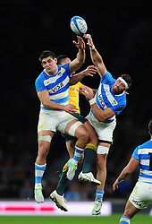 Pablo Matera and Javier Ortega Desio of Argentina look to claim the ball in the air - Mandatory byline: Patrick Khachfe/JMP - 07966 386802 - 08/10/2016 - RUGBY UNION - Twickenham Stadium - London, England - Argentina v Australia - The Rugby Championship.