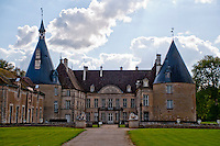 The stately buildings of Chateau de Commarin, France.