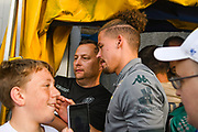 Leeds United midfielder Kalvin Phillips (23) arrives at the ground during the Pre-Season Friendly match between Guiseley  and Leeds United at Nethermoor Park, Guiseley, United Kingdom on 11 July 2019.