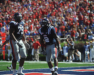 Ole Miss running back Rodney Scott (2) scores a touchdown at Vaught-Hemingway Stadium in Oxford, Miss. on Saturday, October 2, 2010. Ole Miss won 42-35 to improve to 3-2..