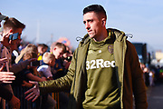 Pablo Hernandez of Leeds United (19) arrives at the ground before the EFL Sky Bet Championship match between Leeds United and Bolton Wanderers at Elland Road, Leeds, England on 23 February 2019.