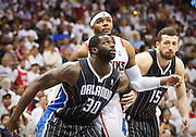 24 April 2011: Orlando's Brandon Bass (30) and Hedo Turkoglu (15) in Atlanta Hawks 88-85 victory over the Orlando Magic in Eastern Conference First Round Game 4 at Philips Arena in Atlanta, GA.