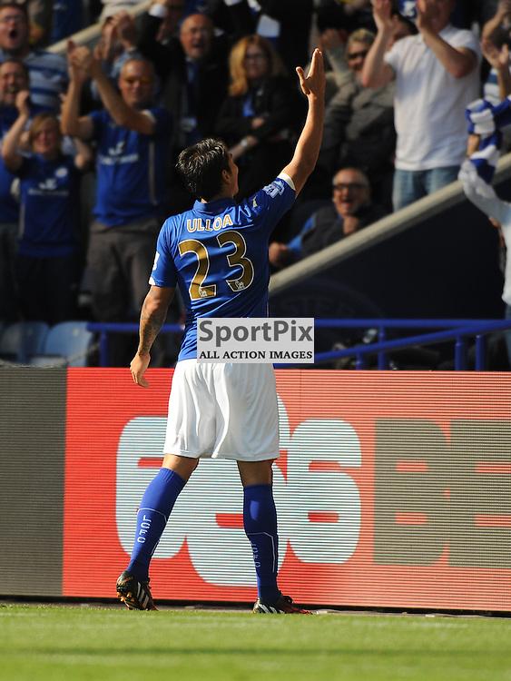 Ulloa Celebrates Leicesters Equaliser, Leicester City v Arsenal, Premiership, King Power Stadium, Sunday 31st  August 2014