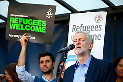 © Licensed to London News Pictures. 12/09/2015. London, UK. Newly elected Labour Party leader Jeremy Corbyn attending a pro-refugee march in central London following his victory on September 12, 2015. Photo credit: Tolga Akmen/LNP