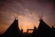 Sunset over the Teepee field, Glastonbury Festival, UK 1999