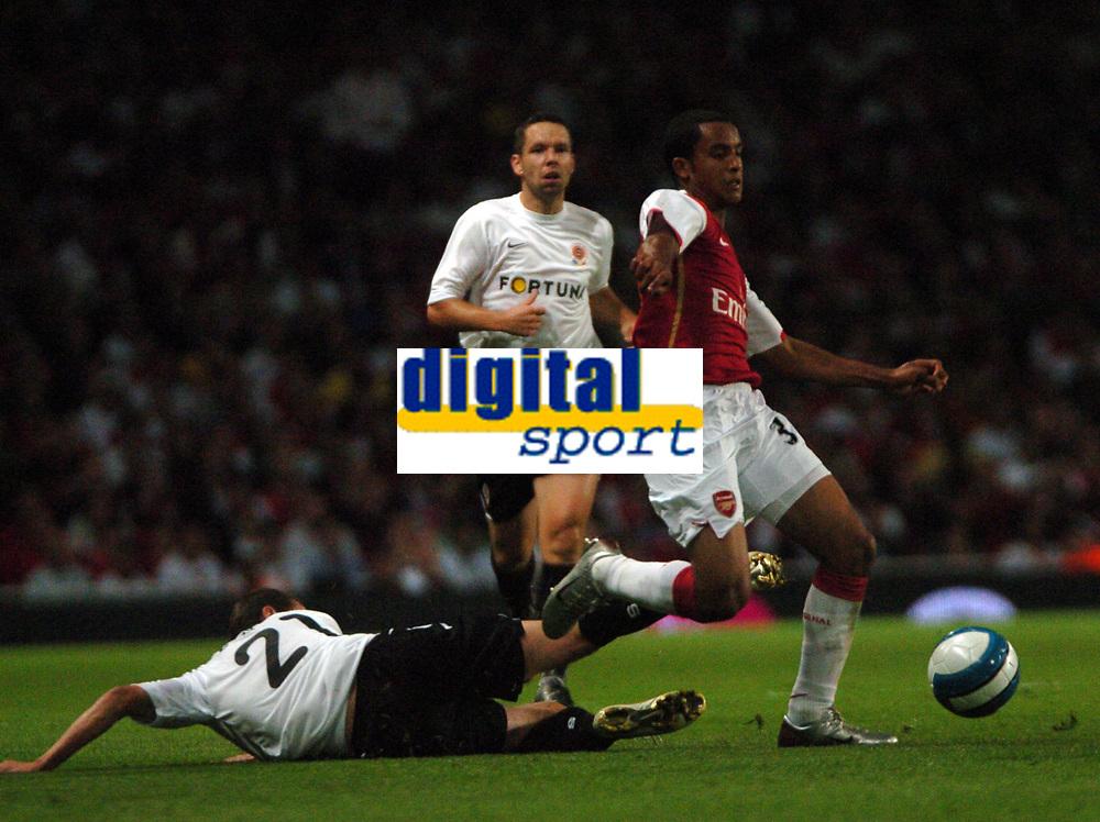 Photo: Tony Oudot.<br /> Arsenal v Sparta Prague. UEFA Champions League Qualifying. 29/08/2007.<br /> Theo Walcott of Arsenal goes past Lubos Husek of Sparta Prague