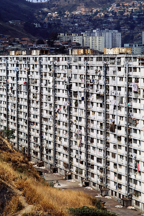 High-rise apartment with laundry and trash below in Caracas, Venezuela.