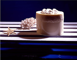 star, fish, coral, whipped, cream, Pina Colada souffle Cuisine copy space Bon Appetit