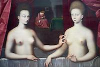 France, Paris, musee du Louvre, portrait présumé de Gabrielle d'Estrées et de sa sœur la duchesse de Villars, Anonyme, ecole de Fontainebleau // France, Paris, Louvre museum
