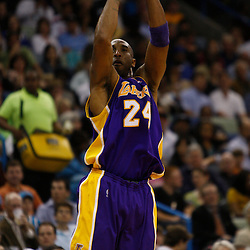 Mar 29, 2010; New Orleans, LA, USA; Los Angeles Lakers guard Kobe Bryant (24) shoots against the New Orleans Hornets during the first half at the New Orleans Arena. Mandatory Credit: Derick E. Hingle-US PRESSWIRE